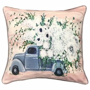 Accent Pillow - Vintage Truck and Flowers